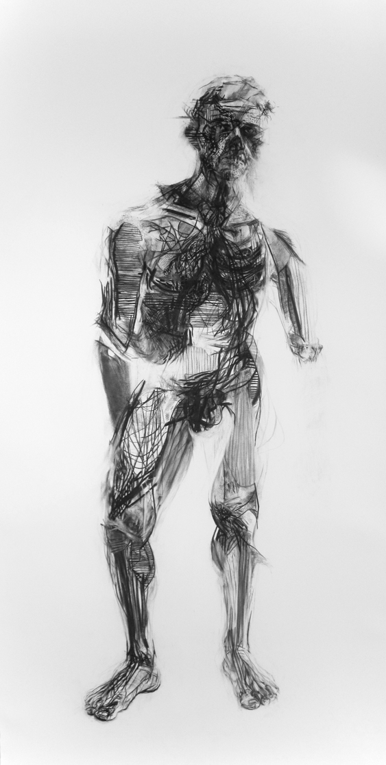 charcoal on paper, 42 x 90 in, 2011